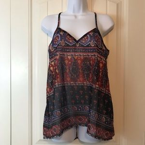 Truth NYC sheer paisley tank top gold accent
